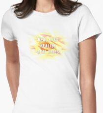 Real eyes, realize, real fries. Women's Fitted T-Shirt