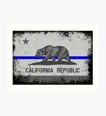 Blue Line California State Flag Art Print