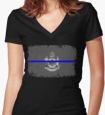 Blue Line Maine State Flag Women's Fitted V-Neck T-Shirt
