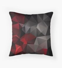 Abstract background of triangles polygon wallpaper in black red colors Throw Pillow