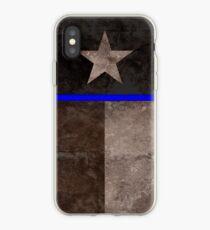 Thin Blue Line Texas Flag Police Badge iPhone Case