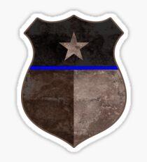 Thin Blue Line Texas Flag Police Badge Sticker