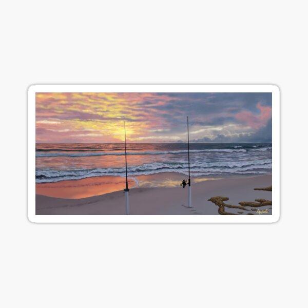 Sunrise Beach Fishing Sticker