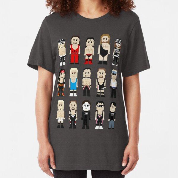 8-Bit Wrestlers 4 Life Slim Fit T-Shirt