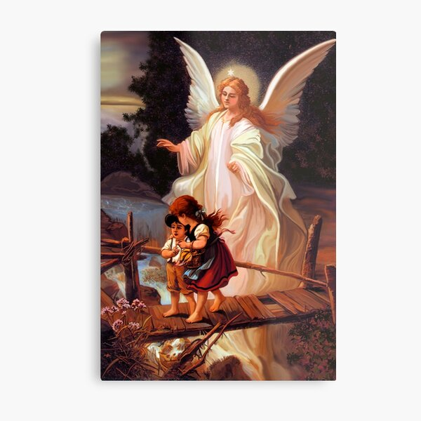 Catholic Tradition Guardian Angel With Children On Bridge Catholic Christian Vintage illustration Metal Print