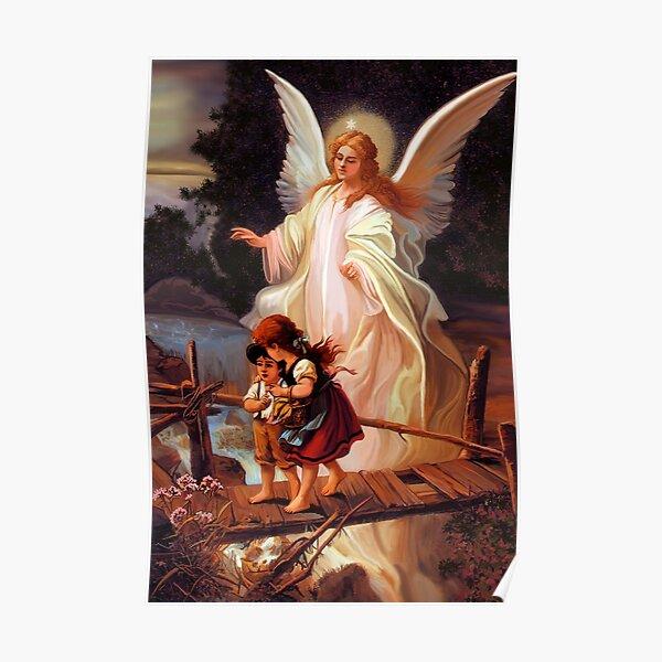 Catholic Tradition Guardian Angel With Children On Bridge Catholic Christian Vintage illustration Poster