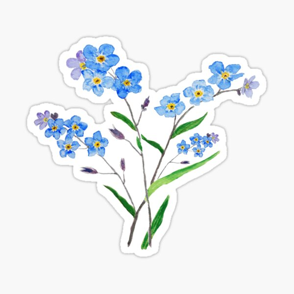 blue forget me not 2 Sticker