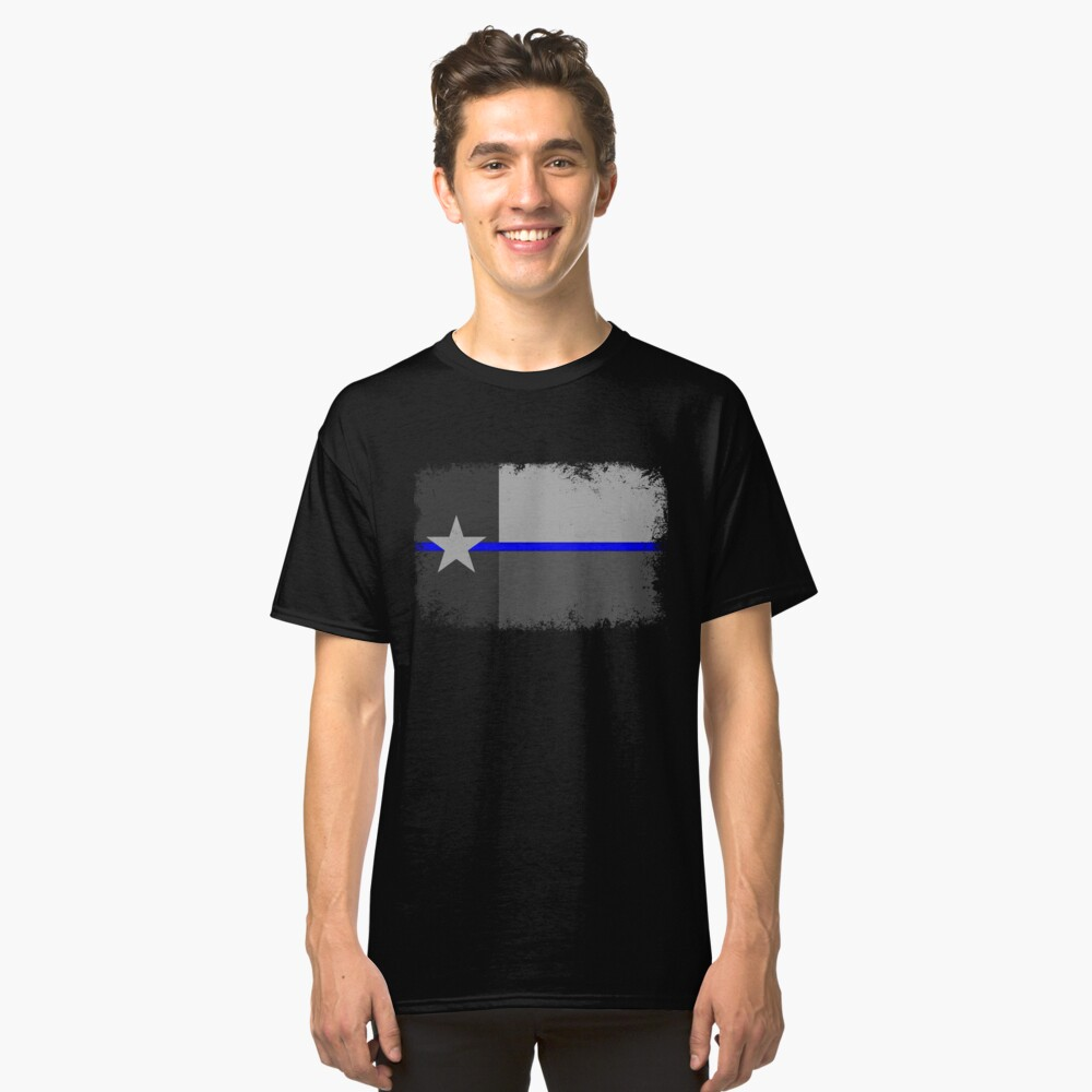 Blue Line Texas State Flag Classic T-Shirt Front