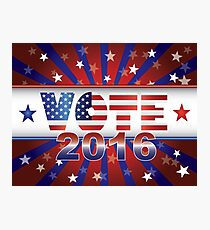Vote 2016 Presidential Election On USA Flag Background Illustration Photographic Print