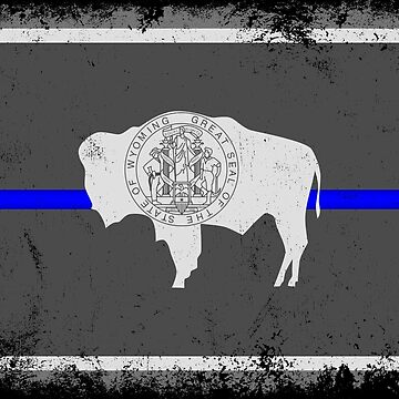 Blue Line Wyoming State Flag by Runesilver