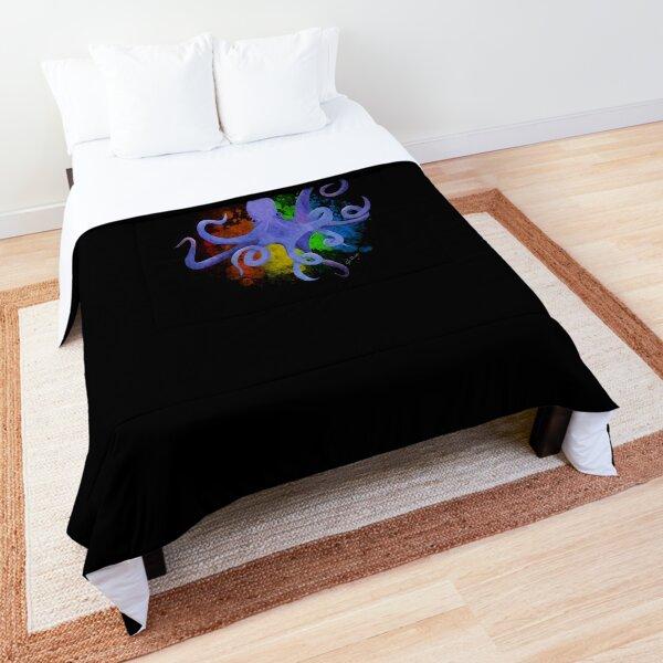 Watercolor Rainbow Squid Burst Comforter
