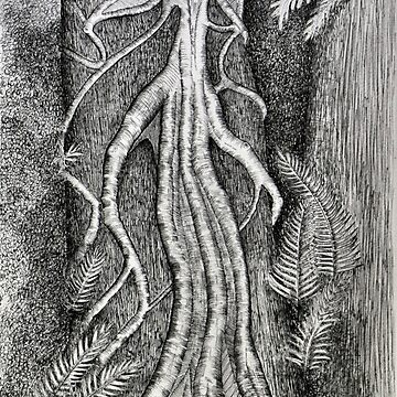 Serpentine vine structure pen drawing by Ainslie1