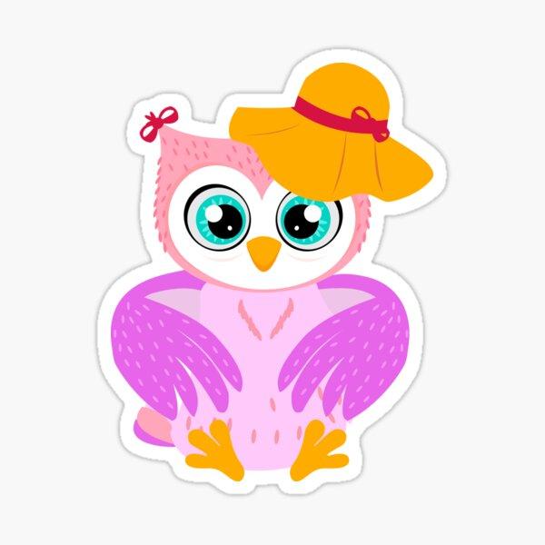 owl owls bright cute vector illustration hat fashionable beautiful  Sticker
