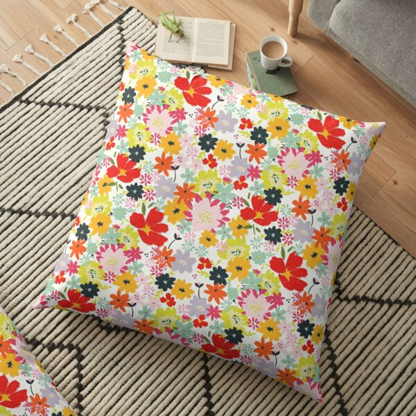 Bright Colorful Chic hand painted Florals by Terri Conrad Designs  Floor Pillow