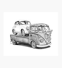 Volkswagen Type 2 Bus Porsche Pencil Drawing Wall Art Print Signed Pictures Photographic Print