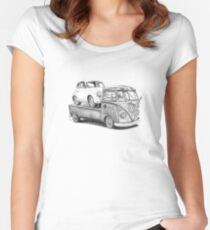 Volkswagen Type 2 Bus Porsche Pencil Drawing Wall Art Print Signed Pictures Women's Fitted Scoop T-Shirt
