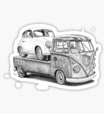 Volkswagen Type 2 Bus Porsche Pencil Drawing Wall Art Print Signed Pictures Sticker