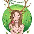 girl deer by lunnorart