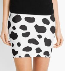 Animal Print (Cow Print), Cow Spots - White Black  Mini Skirt
