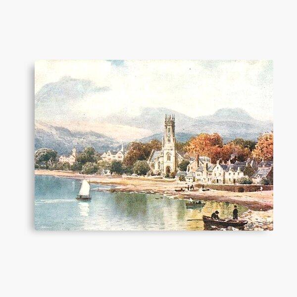 Vintage Illustration of Gare Loch, Scotland - Rhu Canvas Print