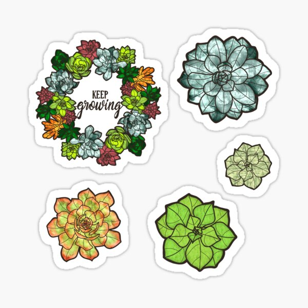 Sweet Faux Stained Glass Succulents Sticker