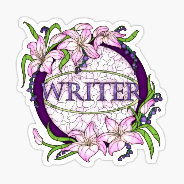 Faux Stained Glass Designs - Writer Sticker