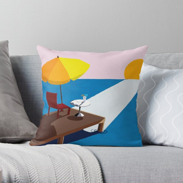 Sunrise by the sea with book Throw Pillow