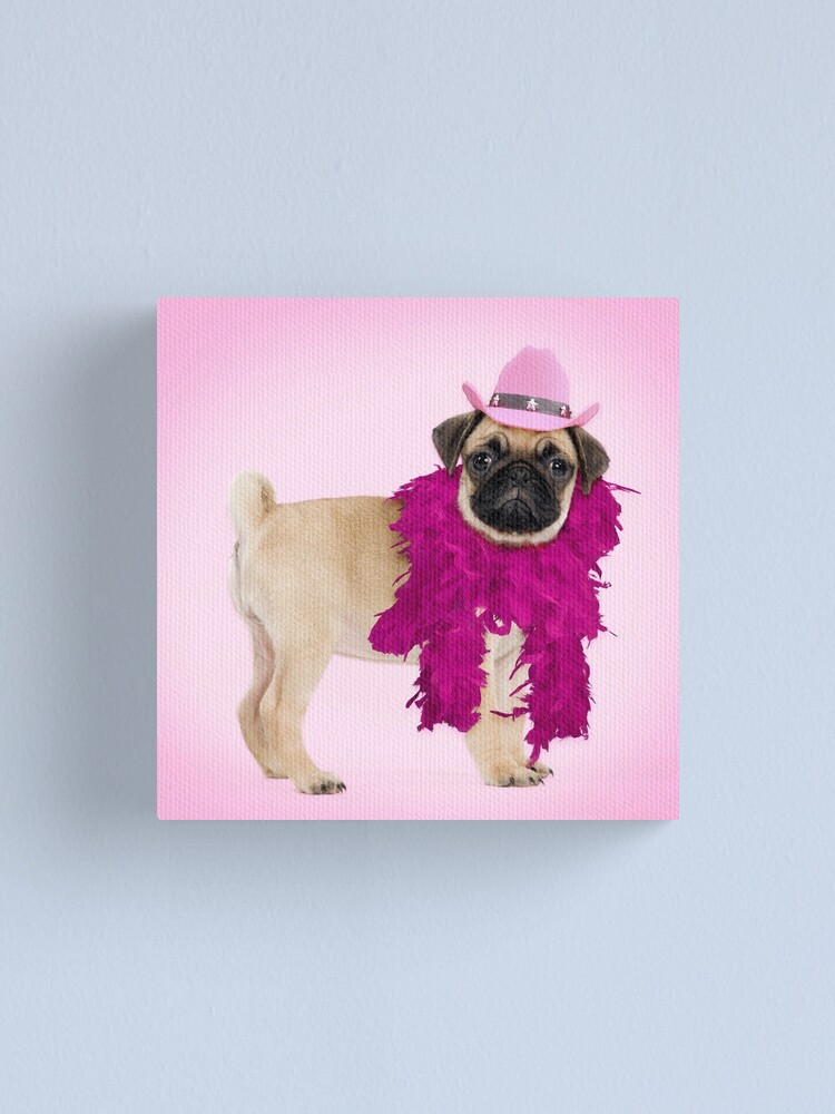 Pug Dog Wearing A Feather Boa And Cowboy Hat Canvas Print By Ardeaonline Redbubble