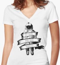 ribbon wrapped astronaut quote Women's Fitted V-Neck T-Shirt