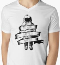 ribbon wrapped astronaut quote V-Neck T-Shirt