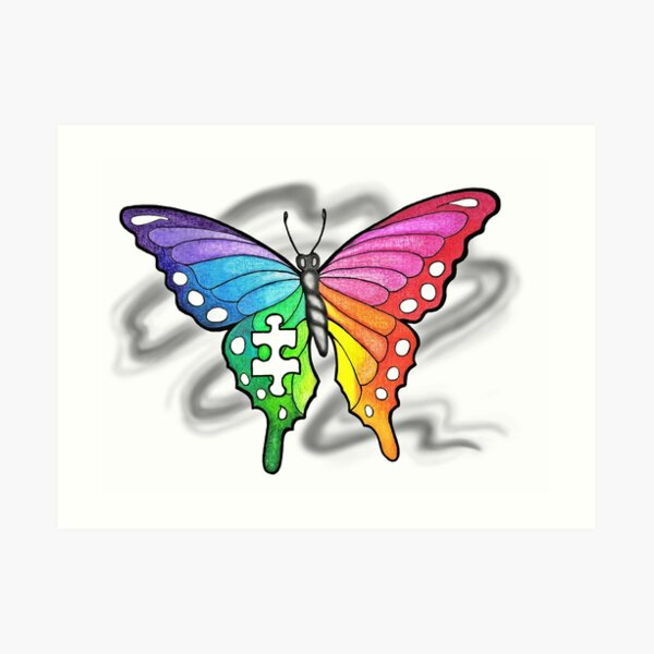 Rainbow Puzzle Butterfly ~ Autism Awareness Design Art Print