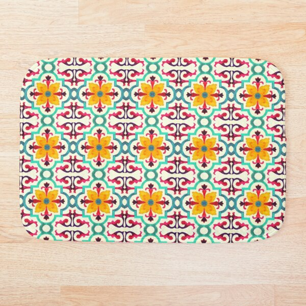 Floral Fresh Lovely Colored Andalusian Moroccan Style Bath Mat