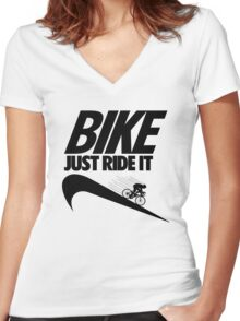 Just Ride It Women's Fitted V-Neck T-Shirt