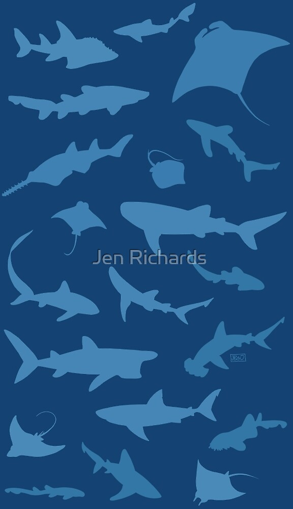 Sharks and Rays - Blue version! by Jen Richards