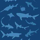 Sharks and Rays - Blue version! by Jen Richards