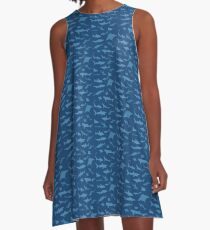 Sharks and Rays - Blue version! A-Line Dress