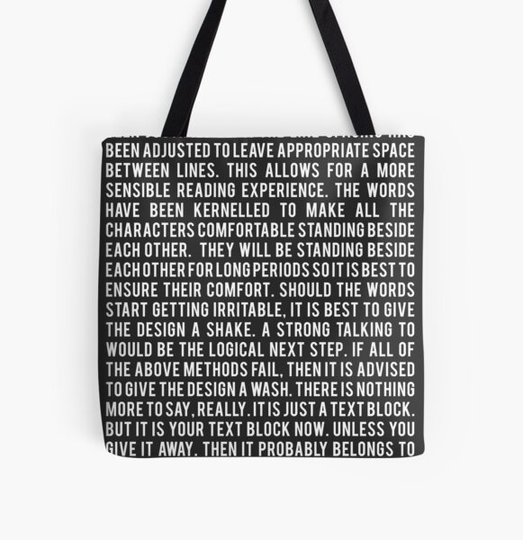 The block of text. All Over Print Tote Bag