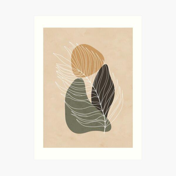 Minimalist landscape art with a palm leaf and three shapes Art Print