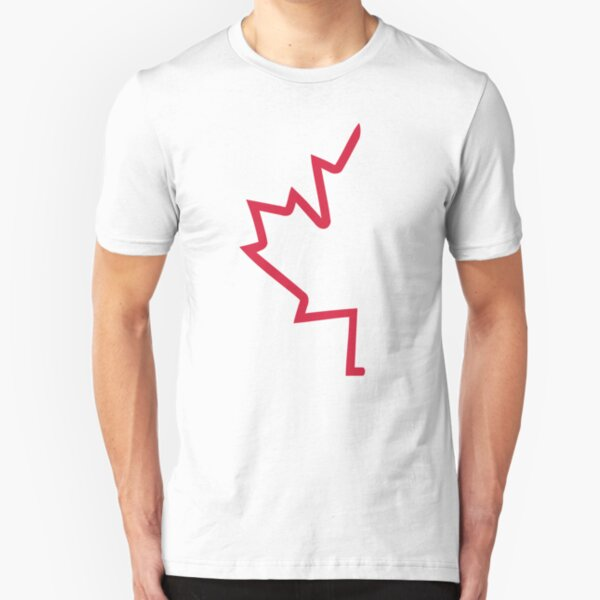 Red half maple leaf Slim Fit T-Shirt