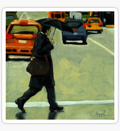 Rainy Day Business - Figurative City Oil Painting Sticker