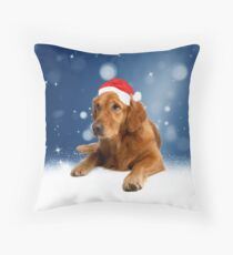 Christmas Cute Golden Retriever Dog Santa Hat Snow  Throw Pillow