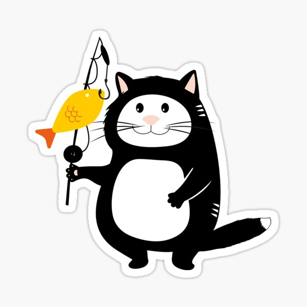 T-shirt children's print cat fishing rod Sticker