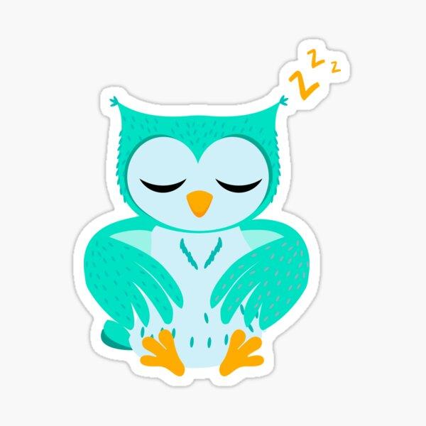 baby owl print illustration animals Sticker