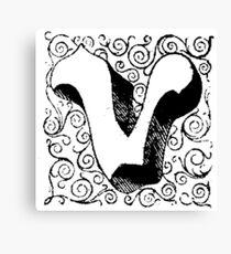 Block Alphabet Letter V Canvas Print