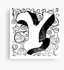 Block Alphabet Letter Y Canvas Print