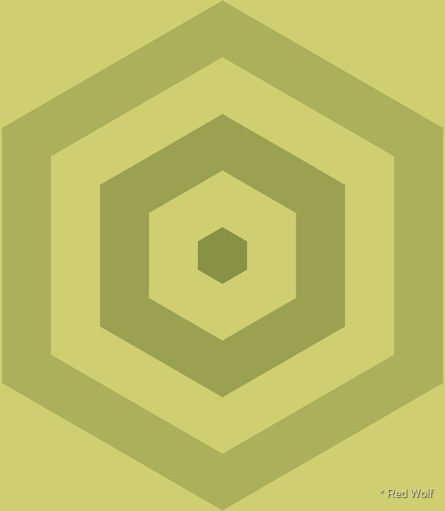 Geometric Pattern: Hexagon Hive: Olive by * Red Wolf