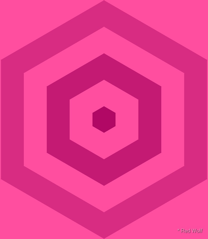 Geometric Pattern: Hexagon Hive: Berry by * Red Wolf