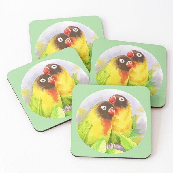 Masked Lovebirds Coasters (Set of 4)