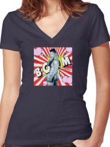 comics man  Women's Fitted V-Neck T-Shirt