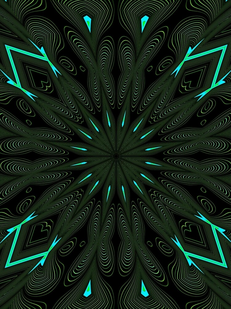 Fractal Madness - Neon Green Black by vkdezine